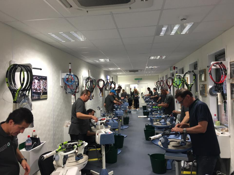The Wimbledon stringing room