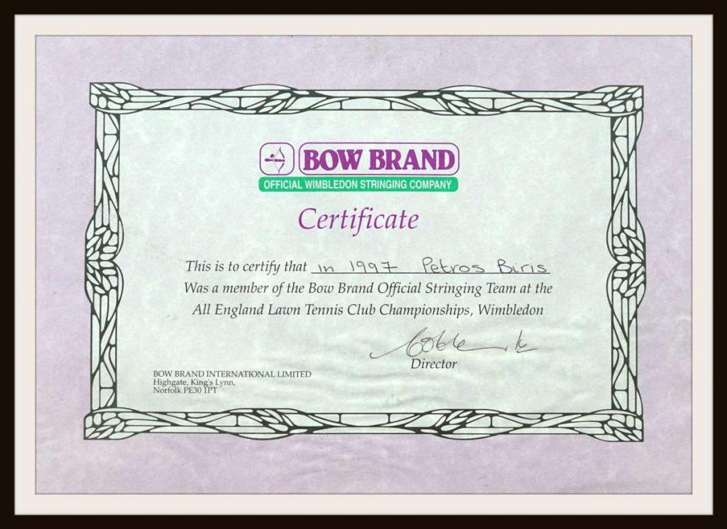 Wimbledon1997-stringing-team-certificate-petros-biris-