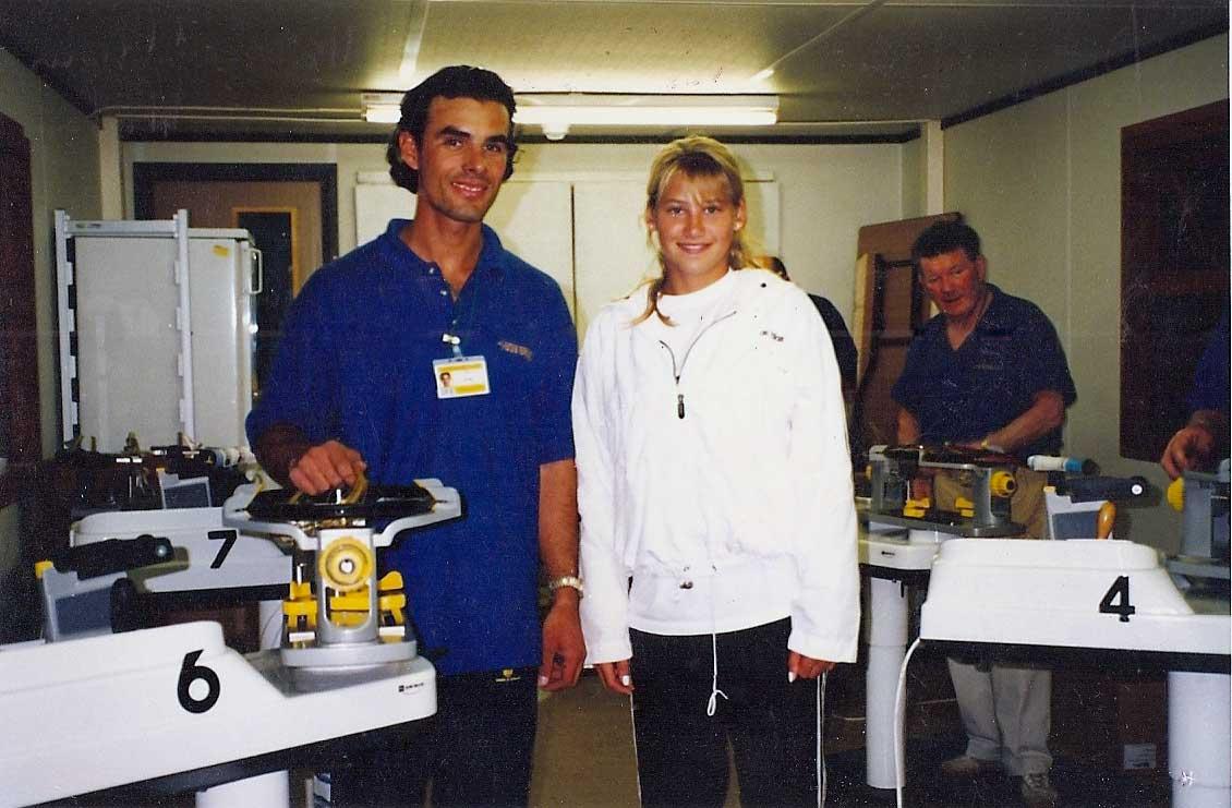 Με την Anna Kournikova στην πρώτη της συμμετοχή στο Wimbledon.